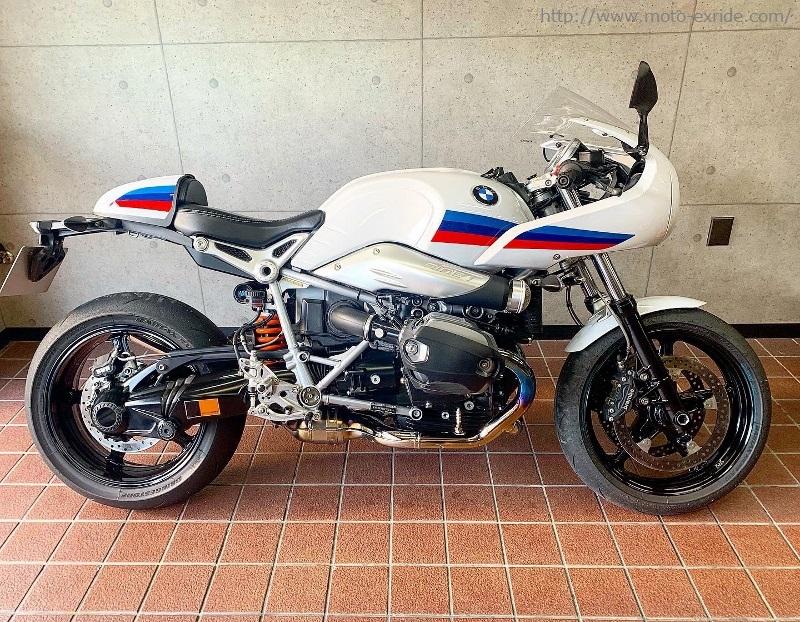 BMW RnineT Racer Matris(マトリス)リアサスペンション モトエクスライドオリジナル ダンパーカバー 取付カスタム/MOTO-EXRIDE(モトエクスライド)