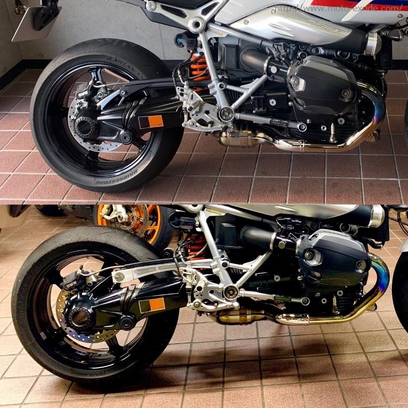 BMW RnineT Racer トルクロッド部分比較