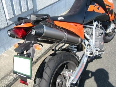 KTM 950SM ワンオフスリップオンサイレンサーカスタム 後方